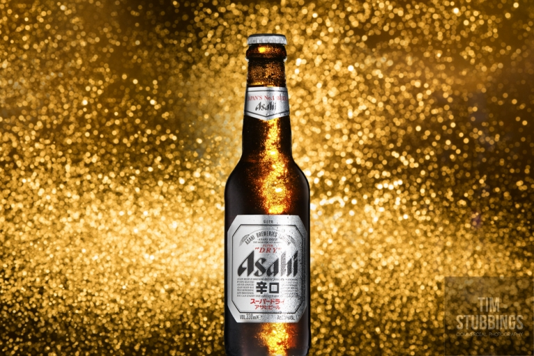 Promotional photography of Asahi Super Dry Beer in the studio in Canterbury.